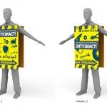 пластиковый двухсторонний щит для раздачи листовок 750*550мм весом 2кг. ЧЕЛОВЕК-БУТЕРБРОД для строительного магазина (материал пвх-3мм)