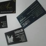 печать визиток на дизайнерской бумаге Touche Cover с нанисением информации фольгированным серебром либо золотом